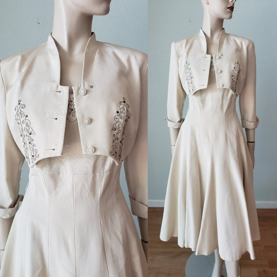 1940s-50s Ivory Faille Wedding Dress Suit Hand Det