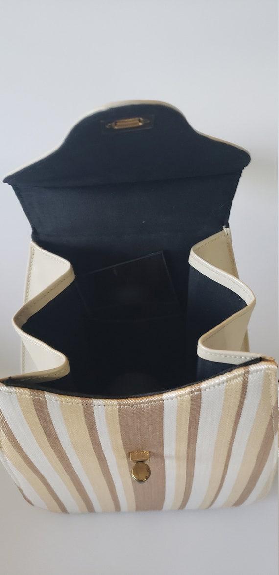 1940s Leather and Fabric Handbag / 40s Purse / 40… - image 4