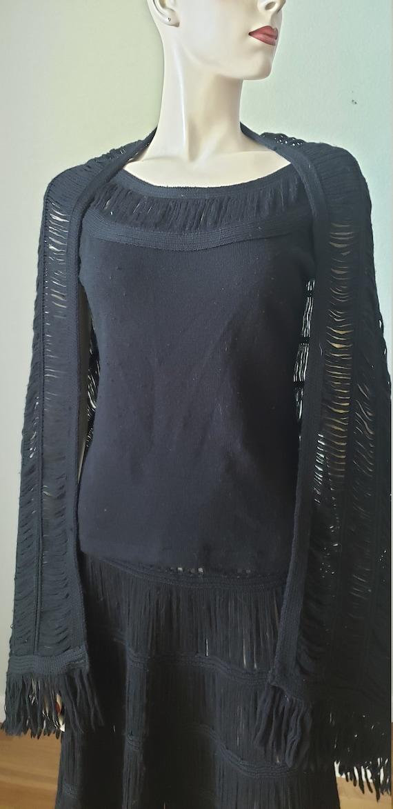 1940s Wool Knit Skirt Blouse Shawl Set / 1940s Kn… - image 7