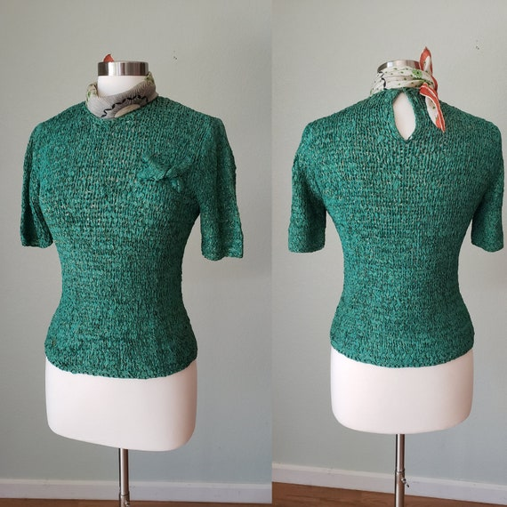 1940s Hand Knit Ribbon Top Blouse / Original Ann F