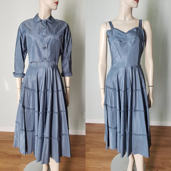 1940s Taffeta Party Dress with Jacket - 1940s Dres