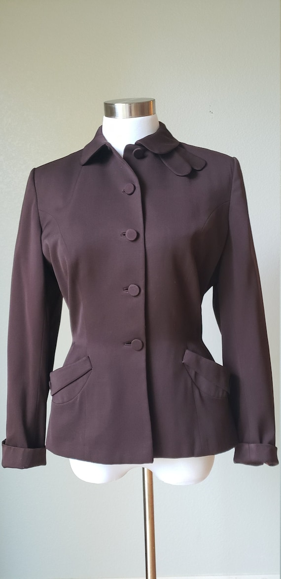 1940s Heavy Wool Gabardine Tailored Fitted Jacket