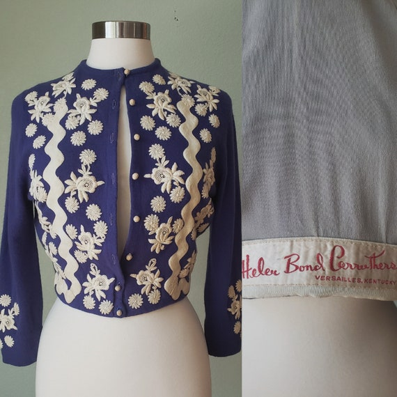 1950s Helen Bond Carruthers Embroidered Cashmere C