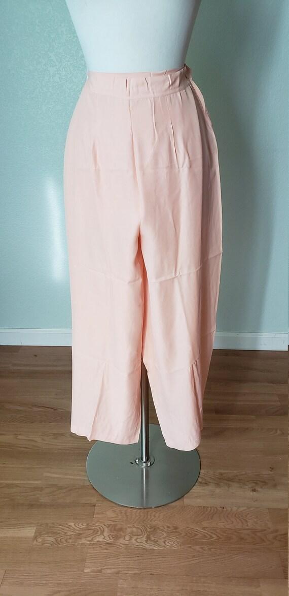 1940s Rayon Pajama Pants / 40s Wide Leg Pants / 19