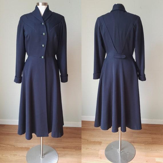 1940s Navy Wool Princess Coat / 1940s Coat / 40s O