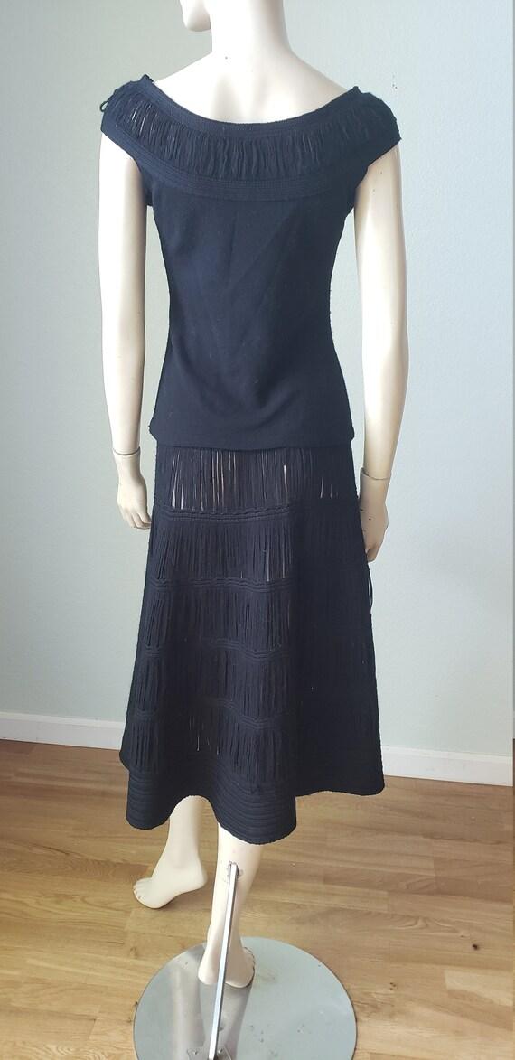 1940s Wool Knit Skirt Blouse Shawl Set / 1940s Kn… - image 6