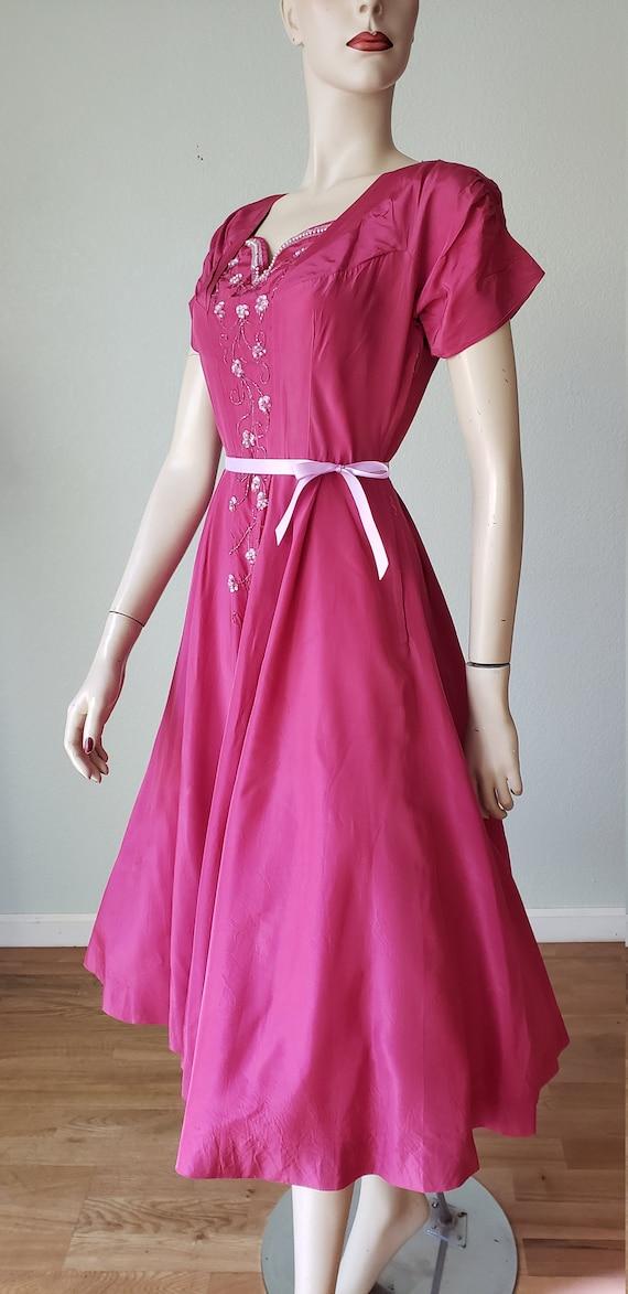1940s Plum Berry Rayon Taffeta Party Dress / Flow… - image 5