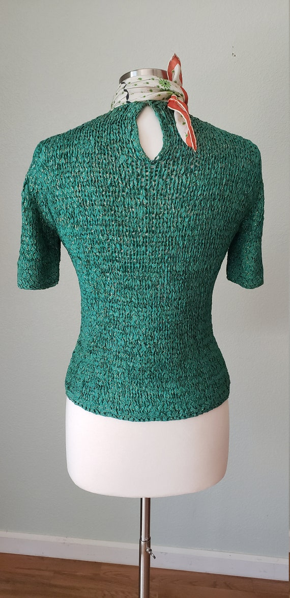 1940s Hand Knit Ribbon Top Blouse / Original Ann … - image 4