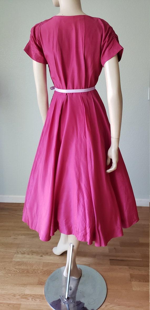 1940s Plum Berry Rayon Taffeta Party Dress / Flow… - image 6