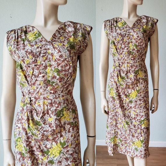 1940s Novelty Print Rayon Dress with Sarong Skirt