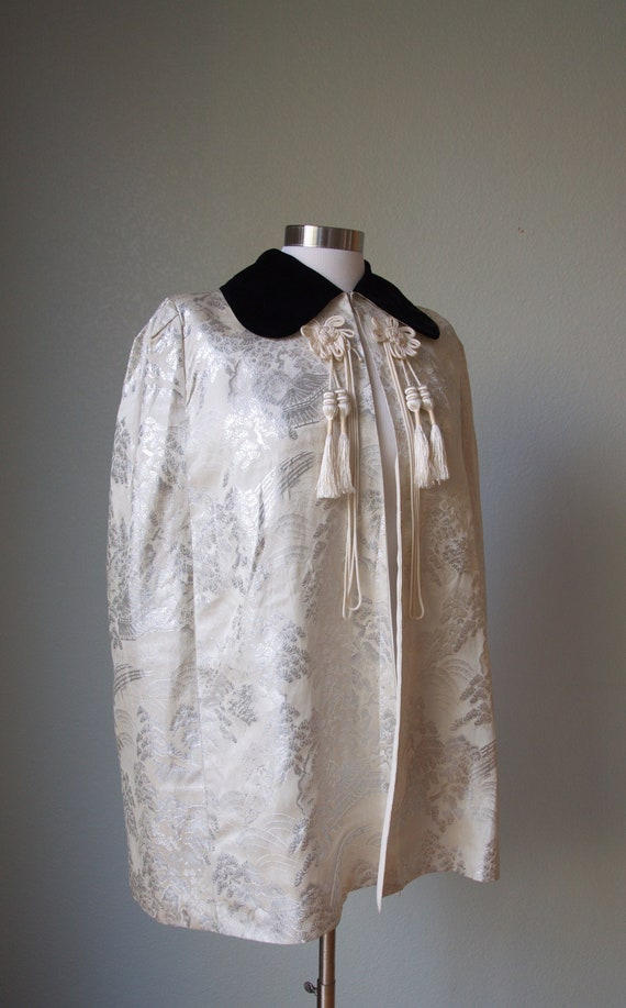 1940s Brocade Lame' Cape with Velvet Collar / Asia