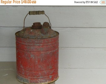 Vintage Antique chippy red paint shabby rusty garage gas can . Old Americana collectible Valentine gift for him