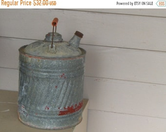 Vintage Antique chippy red paint shabby garage gas can . Old Americana collectible Valentine gift for him