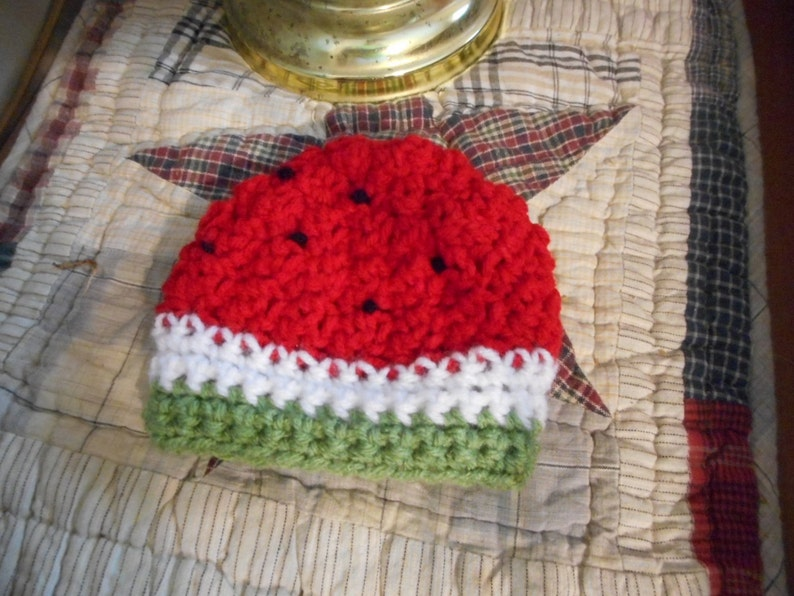 Sweet Little Baby Red Watermelon Cap cloche Hat Maybaby\u00a9 Collection summer attire accessory sun cover fruit water melon handmade to order