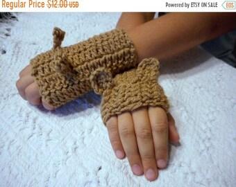 Teddy Bear GLoves. Handmade Children's brown bear ear fingerless gloves, hand wrist warmers crochet fall autumn Made to order Back to school