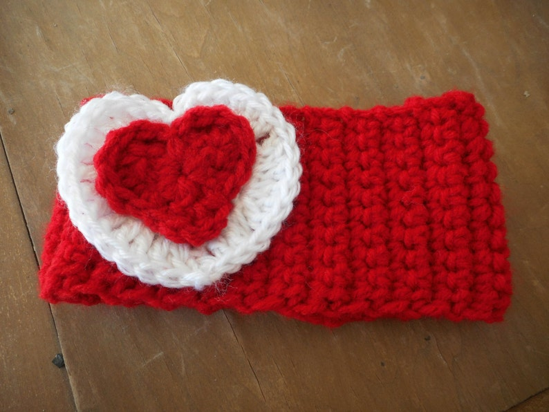 Be My Valentine ear warmer head warmer Red Heart White heart Red Headband Head accessory Child Headband Winter head band