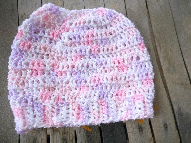 acrylic crocheted handmade beanie cap The Raspberry Ice Messy Bun Beanie Hat