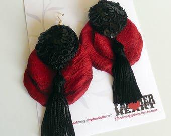 Silk Drop Earrings - Black and Red
