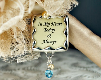 Something Blue Wedding Bouquet Bridal Bouquet Charm Memorial Photo Charm