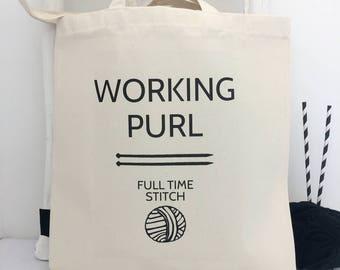 Working Purl   Funny Knitting Bag   Knitting Bag   Knitting Gift   Project Bag   Knitting