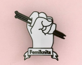 Femiknits | Knitting Enamel Pin Badge | Knitting Badge | Knitting Enamel Pin | Feminism | Girl Power | Knitting Gift | Knitting Brooch