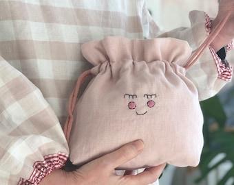 Linen Makeup Bag | Toiletry bag | Embroidered Makeup Bag | Slow Fashion