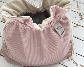 Pink Corduroy Drawstring Knitting Project Bag | Femiknits Knitting Bag | Gift for Knitters