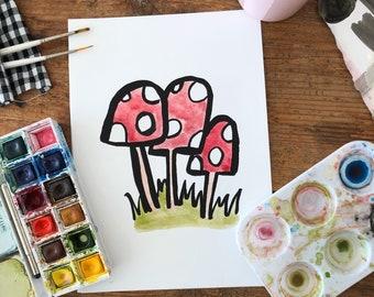 Three Mushrooms Print | Mushroom Art | Forest Nature Print | Cute Mushroom Print