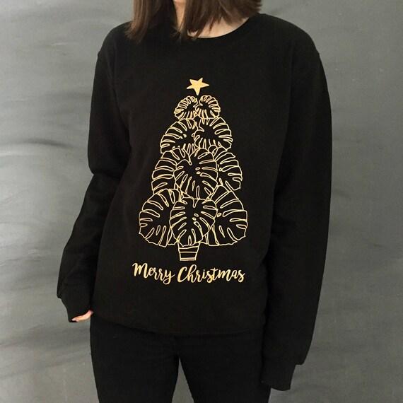 ZJP Women Golden Cats Graphic Merry Catmas Letter Print Sweatshirt Tops Blouse