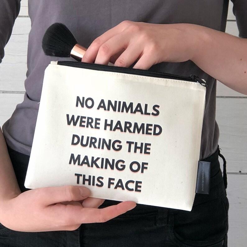 98fe5c5391ddc5 Vegan Makeup Bag Cruelty Free Makeup Bag Cosmetic Bag No   Etsy