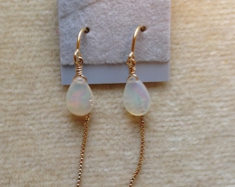 Ethiopian Opal Gold Filled or Sterling Silver Threaded Earrings 1105