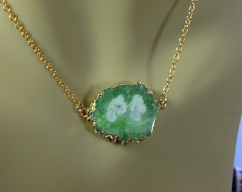 Sapphire Druzy 18K Gold Filled Minimal Layering Necklace 1180