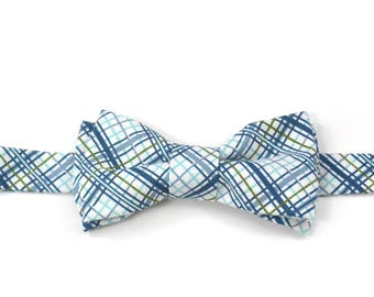 Blue Offshore Plaid Little Boys Bowtie - Child or Infant -  Spring Photos, Wedding, Ringbearer, Dress Up