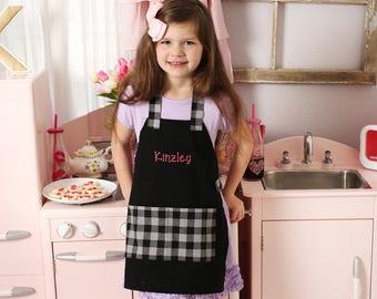 Kids Personalized Aprons - Buffalo Plaid - Embroidered Name, Monogram, Preschool, Toddler Smock, Christmas gift