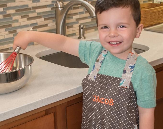 Kids Personalized Aprons - Boys' Favorites - Embroidered Name, Monogram, Preschool, Toddler Smock, Christmas gift
