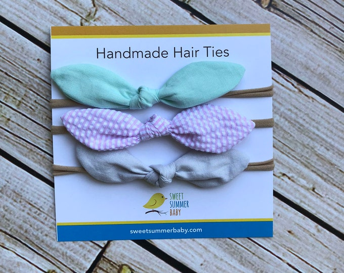 Set of 3 Rabbit Ear Hair Tie Headband Nylon One size fits all Baby Newborn Girl Adult