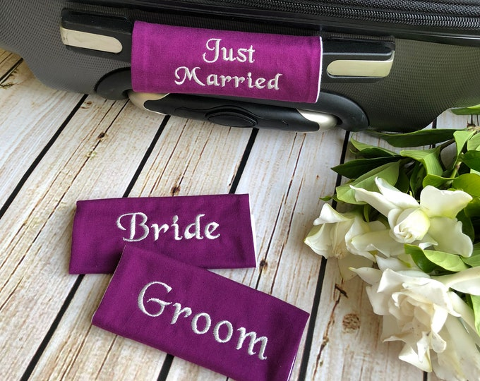 Newlywed Luggage Handle Wrap - Your Choice of Colors - Luggage Spotter, Handle Wrap, Stocking Stuffer
