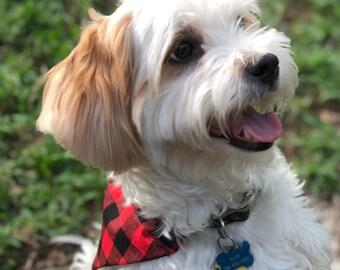 Fur Baby Bandana - Dog Bandana, Christmas bandana, red buffalo check, pup accessory
