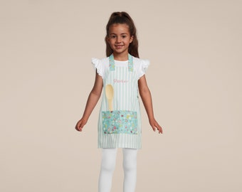 Kids Personalized Aprons - ALL NEW PATTERNS - Girls' Favorites - Embroidered Name, Monogram, Preschool, Toddler Smock, Christmas gift