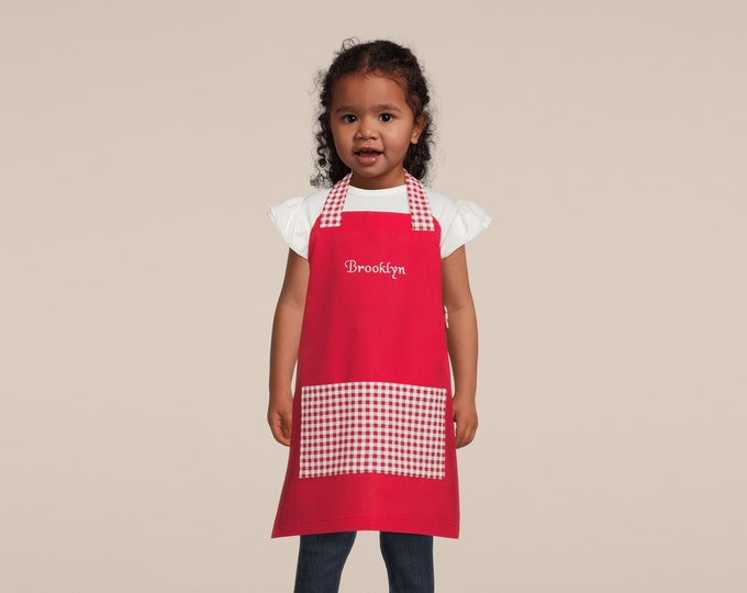 Kids Personalized Aprons - Red Gingham - Embroidered Name, Monogram, Preschool, Toddler Smock, Christmas gift