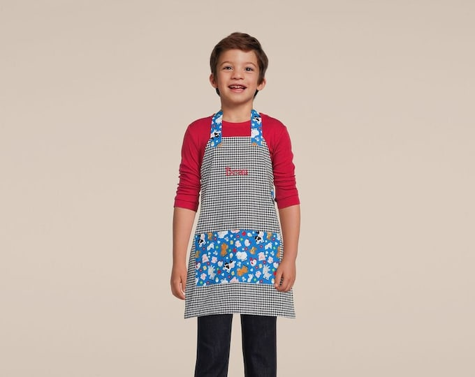 Kids Personalized Aprons - ALL NEW PATTERNS - Boys' Favorites - Embroidered Name, Monogram, Preschool, Toddler Smock, Christmas gift