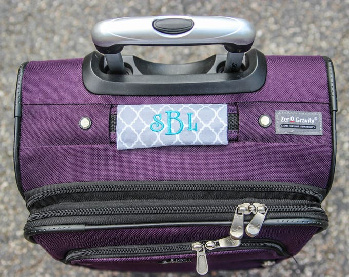 Monogrammed Luggage Handle Wrap - Set of 2 Black Grey White  - Luggage Spotter, Handle Wrap, Stocking Stuffer