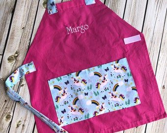 Kids Personalized Aprons - Unicorns - Embroidered Name, Monogram, Preschool, Toddler Smock