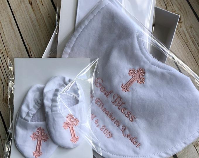 Custom Baptism Bundle - Bib, Stole and Shoes - Dedication, New Baby, Christening