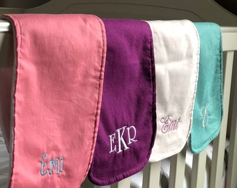 Boutique Burp Cloth - Solid Color Options - New Baby Gift, Personalized Baby Gift, New Baby Girl