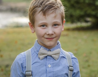Little Boys Bowtie - Child or Infant - Choice of Seersucker Stripe or Dots - Fall Photos, Wedding, Ringbearer, Dress Up