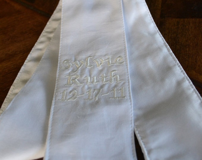 Personalized Baptism/Christening Stole - White with White Embroidery - Custom Embroidered, Heirloom Quality