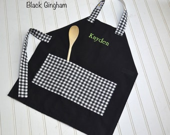 Kids Personalized Aprons - Gingham Choices - Embroidered Name, Monogram, Preschool, Toddler Smock