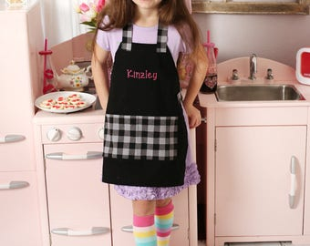 Kids Personalized Aprons - Girl Prints - Embroidered Name, Monogram, Preschool, Toddler Smock