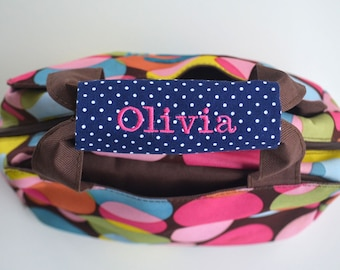 Personalized Handle Wrap - First Name Embroidery - Back to School, Lunch Box, Backpack